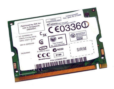 Intel C72994-003 WLAN Mini PCI Card Intel WM3B2200BG WiFi 54Mbps 802.11bg Thumbnail 2