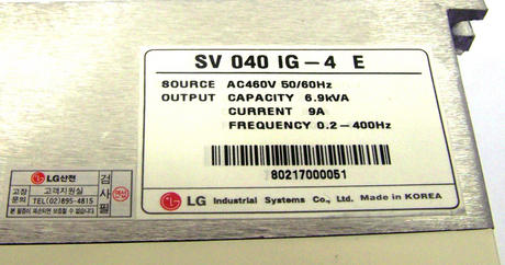 New LG SV040IG-4E Adjustable Frequency Drive Inverter 460VAC 6.9kVA Thumbnail 2