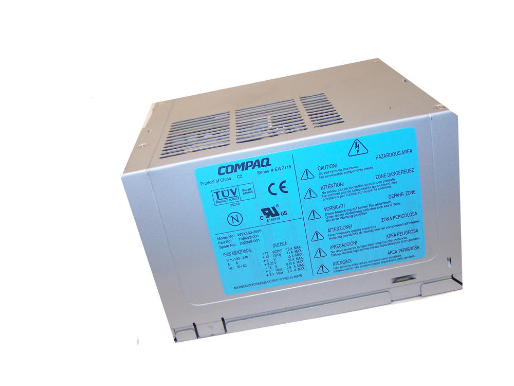 HP 189643-001 Compaq Evo W6000 460W Power Supply   Model WTX460-3505 202348-001