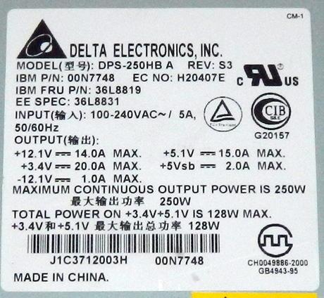 IBM 00N7748 Netfinity 5600 250W Redundant Power Supply | FRU 36L8819 Thumbnail 2