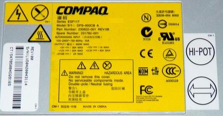 Compaq 230822-001 ProLiant ML530 G2 600W Redundant Power Supply | SPS 231782-001 Thumbnail 4