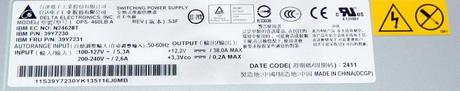 IBM 39Y7230 eServer x3650 M3 460W Redundant AC Power Supply    FRU 39Y7231 Thumbnail 3