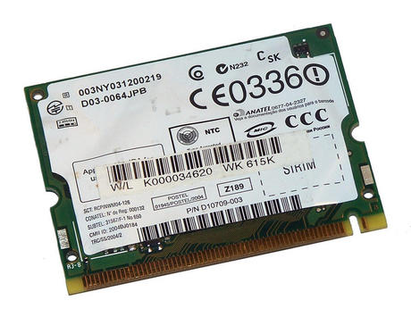 Toshiba G86C0000X711 WLAN Mini PCI Card Intel WM3B2200BG WiFi 54Mbps 802.11bg Thumbnail 2