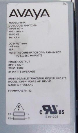 Avaya 700470370 G640 model 655A 500W Power Supply | DPSN-500AB AF Thumbnail 4