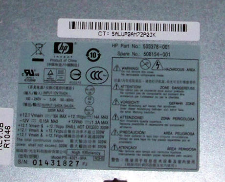 HP 503378-001 8000 Elite CMT 320W PFC PSU PS-4321-9HA | Spares 508154-001 RoHS Thumbnail 2
