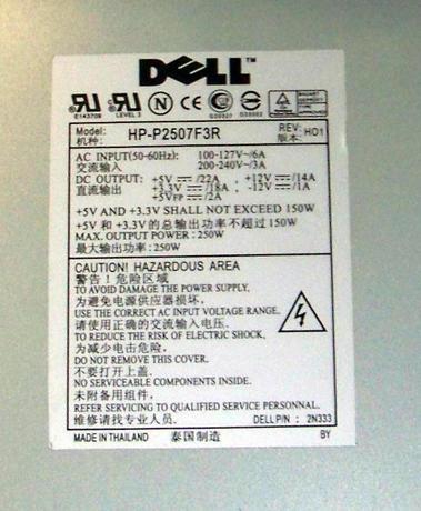 Dell 2N333 PowerEdge 600SC 250W Power Supply | HP-P2507F3R 02N333 Thumbnail 2
