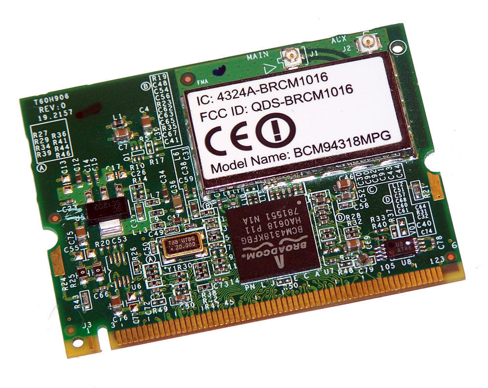 Broadcom BCM94318MPG WLAN Mini PCI Card QDS-BRCM1016 WiFi 54Mbps 802.11b/g Thumbnail 1