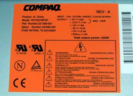 Compaq 221269-001 Deskpro EXM 200W Power Supply | SPS 224062-001 HP-P207WF3P Thumbnail 2