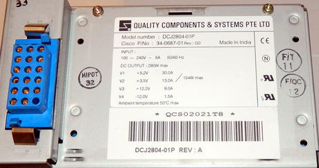 Cisco 34-0687-01 7200 VXR 280W AC Power Supply [DCJ2804-01P] | PWR-7200-AC= Thumbnail 2