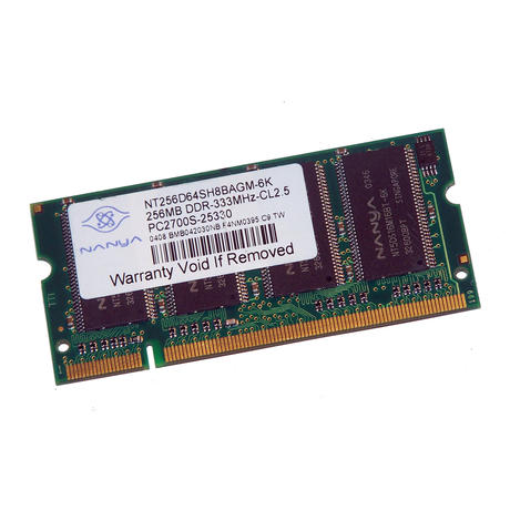 Nanya NT256D64SH8BAGM-6K (256MB DDR PC2700S 333MHz SO DIMM 200-pin) Memory
