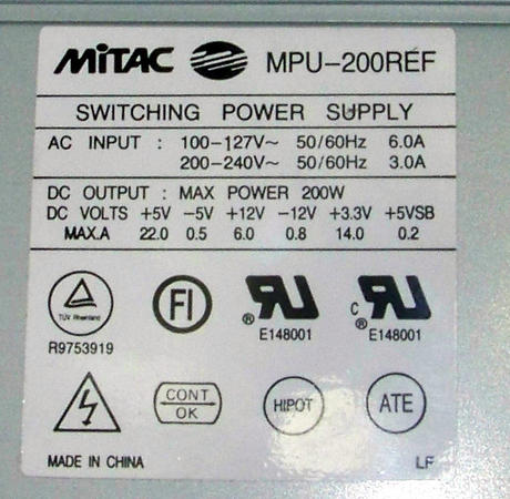 Sun 370-3162-02 Ulltra 5 200W Power Supply | Mitac MPU-200REF Thumbnail 2