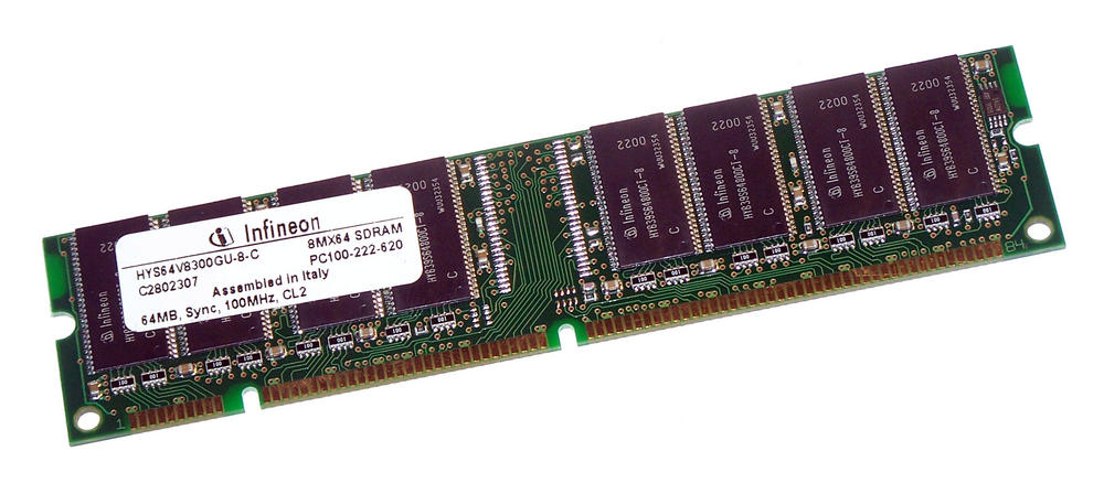 Infineon HYS64V8300GU-8-C (64MB SDRAM PC100U 100MHz DIMM 168-pin) Memory Module
