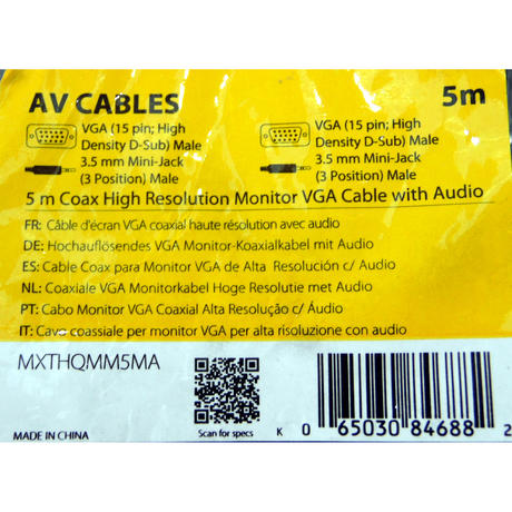 StarTech.Com 5m Coax High Resolution Monitor VGA Video Cable with Audio MXTHQMM5 Thumbnail 2