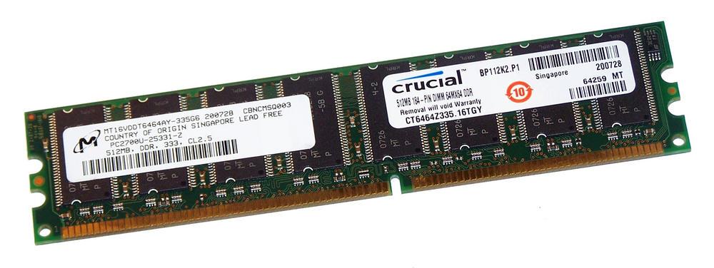Crucial CT6464Z335.16TGY (512MB DDR PC2700U 333MHz DIMM 184-pin) 16C RAM Module