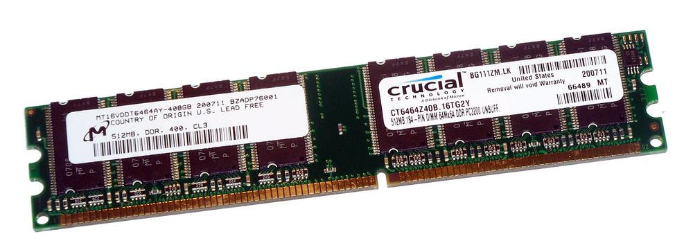 Crucial CT6464Z40B.16TG2Y (512MB DDR PC3200U 400MHz DIMM 184-pin) 16C RAM Module