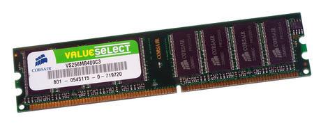 Corsair VS256MB400C3 (256MB DDR PC3200U 400MHz DIMM 184-pin 8-Chip) Memory