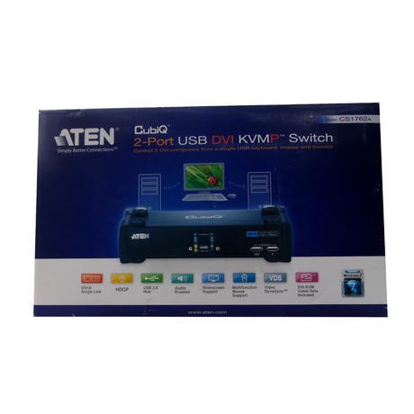 New In Opened Original Box ATEN CubiQ (CS1762A) 2 Port USB DVI KVMP