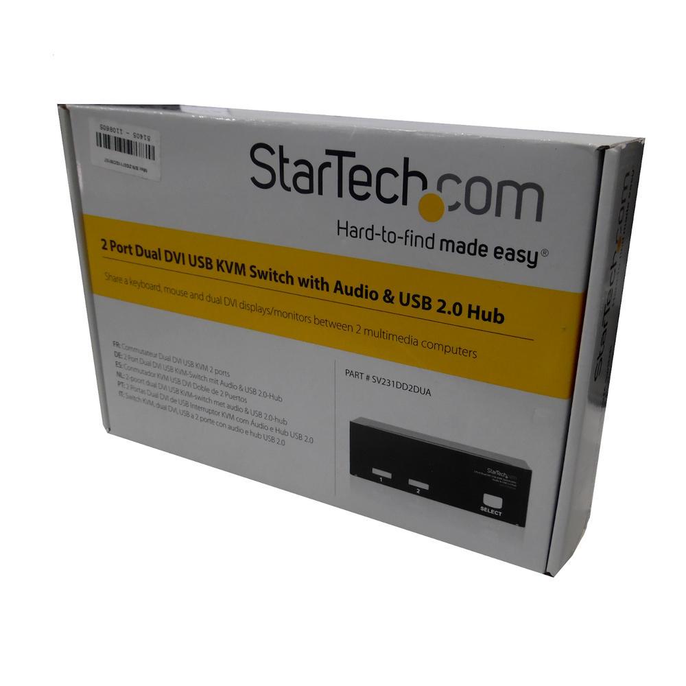New In Opened Box StarTech.com 2 Port Dual DVI USB KVM Switch with Audio & USB 2