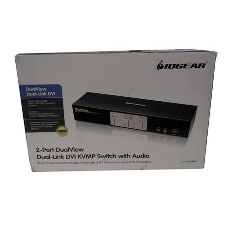 New In Box Iogear Gcs1642 2port Dual View Dual Link Dvi Kvmp Switch GCS1642