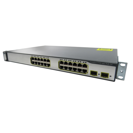 Cisco WS-C3750-24PS-S 1U Managed Network Ethernet Switch With Ears
