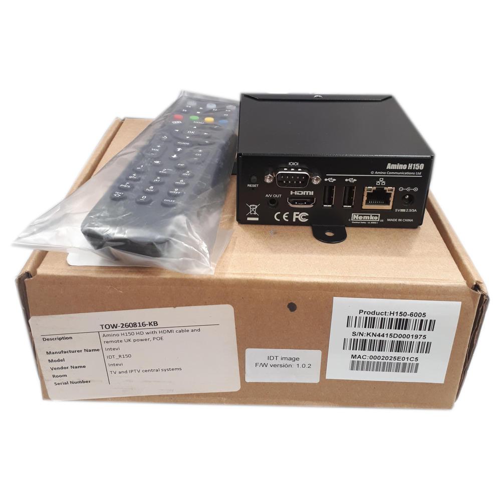 AMINO H150 Remote Control Full HD HDMI PoE Set Top IPTV Box HDMI Cable Not Inclu