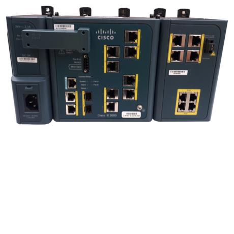 Cisco IE-3000-8TC Industrial Ethernet Switch + PWR-IE50W-AC-IEC + IEM-3000-4PC-4