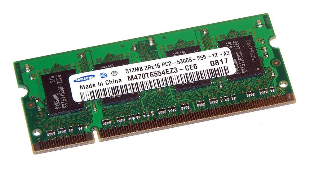 Samsung M470T6554EZ3-CE6 (512MB DDR2 PC2-5300S 667MHz SO DIMM 200-pin) Memory