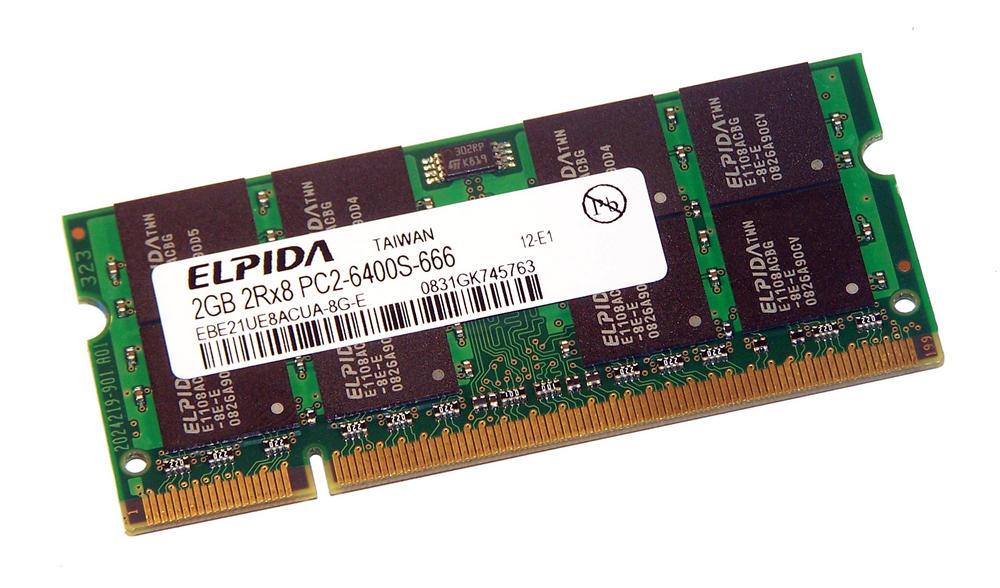 Elpida EBE21UE8ACUA-8G-E (2GB PC2-6400S DDR2 800MHz SO DIMM 200-pin) Memory