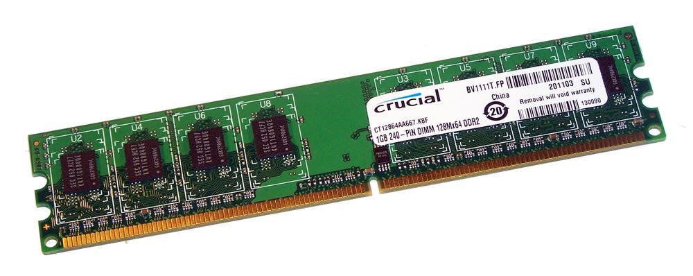 Crucial CT12864AA667.K8F (1GB DDR2 PC2-5300U 667MHz DIMM 240-pin) 8C RAM Module