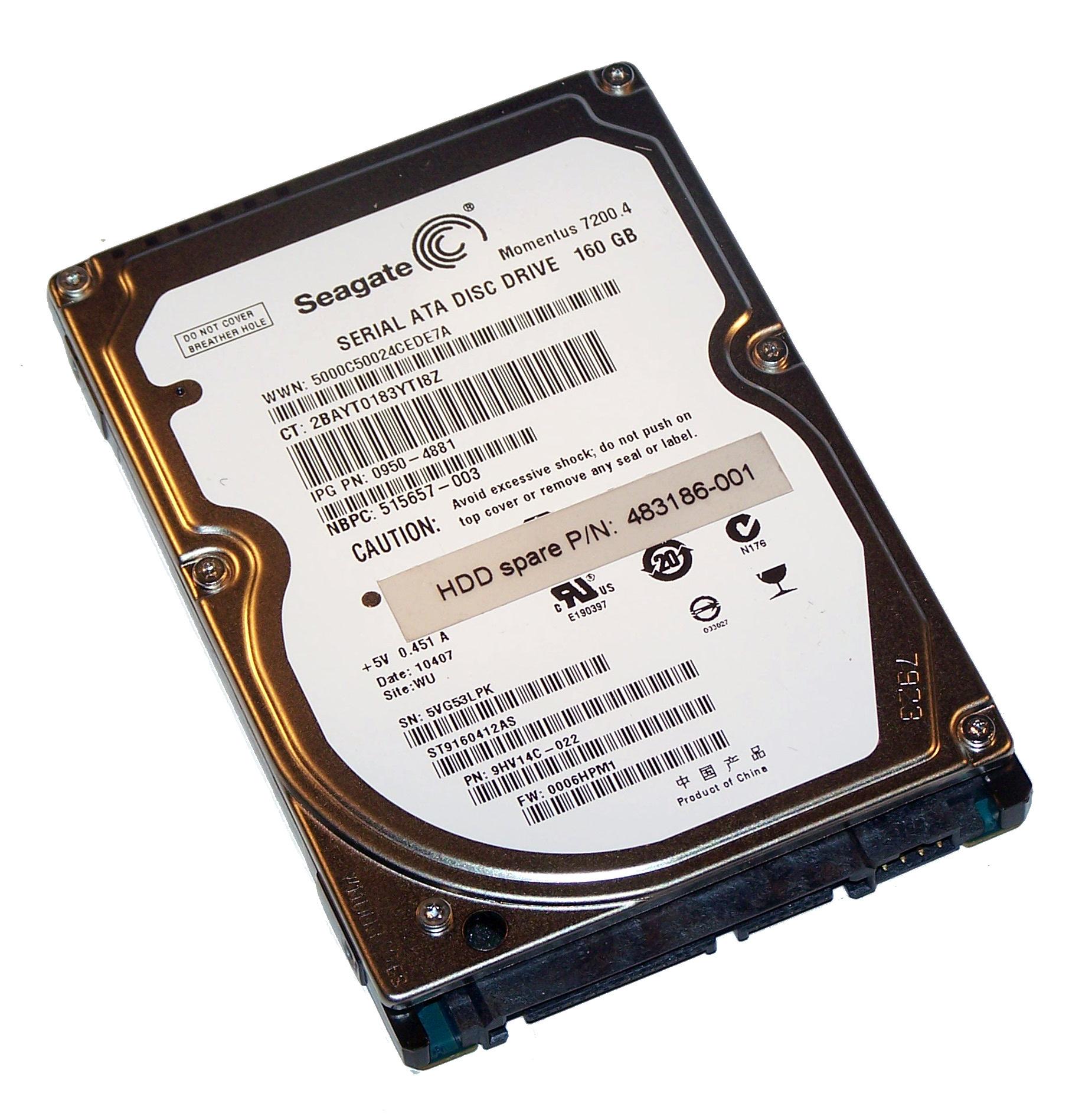 """Seagate HP 160GB SATA 7200rpm 2.5/"""" Laptop hard drive HDD ST9160412AS"""