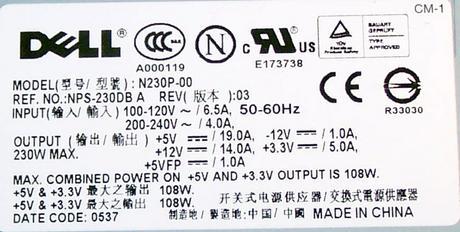 Dell P8407 OptiPlex GX520 GX620 model DCSM 230W Power Supply (Mini Tower) 0P8407 Thumbnail 2