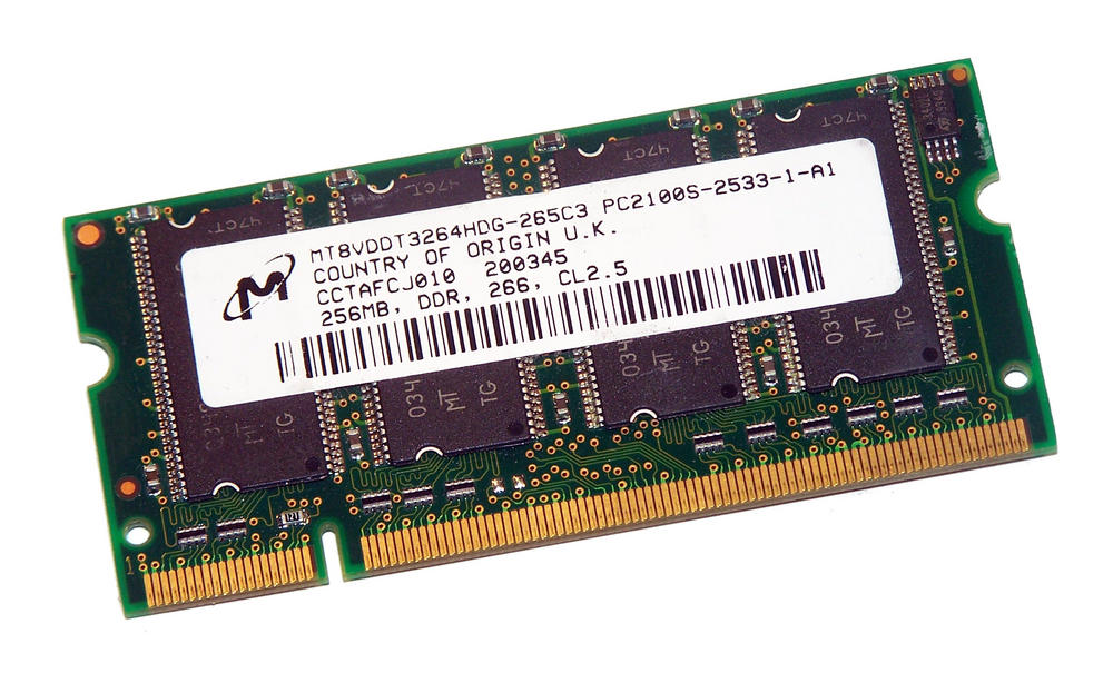 Micron MT8VDDT3264HDG-265C3 (256MB DDR PC2100S 266MHz SO DIMM 200-pin) Memory
