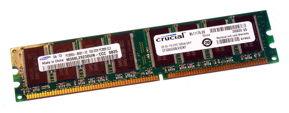 Crucial CT12864Z40B.K16TKY (1GB DDR PC3200U 400MHz DIMM 184-pin) Memory Module