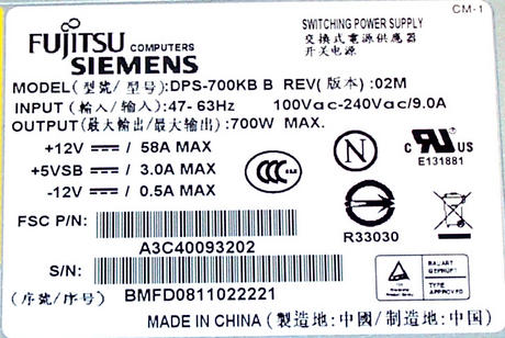 Fujitsu A3C40093202  RX300 S4 700W Power Supply |  DPS-700KB B Thumbnail 2