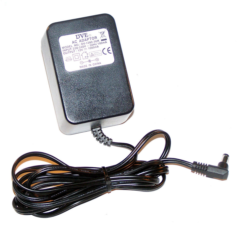 DVE DV-1280-3UK 12VDC 1000mA AC Adapter with UK Plug
