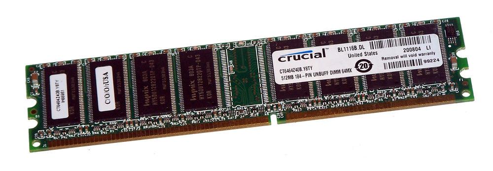 Crucial CT6464Z40B.Y8TY (512MB DDR PC3200U 400MHz DIMM 184-pin) 8C RAM Module