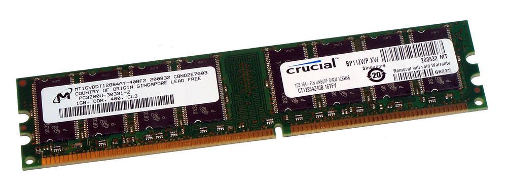 Crucial CT12864Z40B.16TFY (1GB DDR PC3200U 400MHz DIMM 184-pin) Memory Module