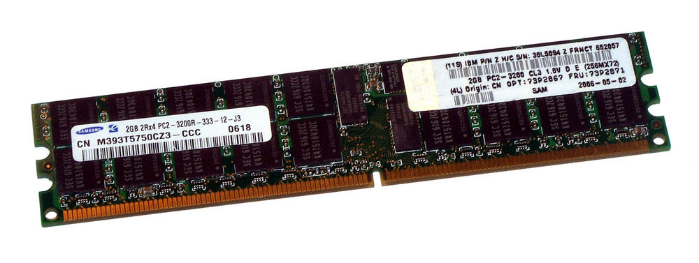IBM 38L5094 (2GB PC2-3200R 400MHz CL3 ECC Reg Server 240P DIMM) M393T5750CZ3-CCC