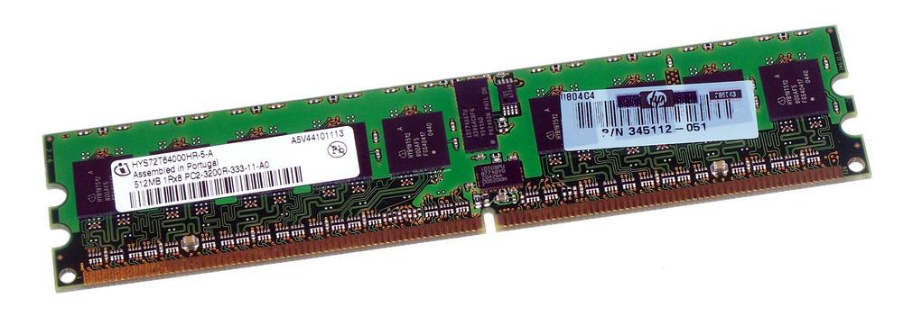 HP 345112-051 (512MB PC2-3200R ECC Reg Server 240-Pin DIMM) HYS72T64000HR-5-A
