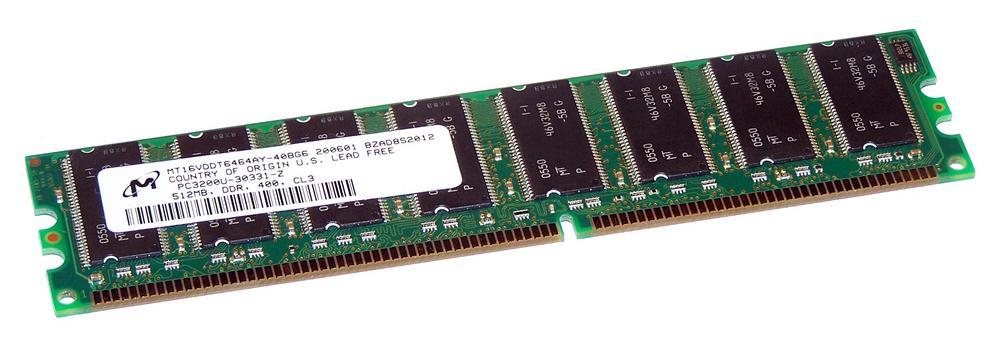 Micron MT16VDDT6464AY-40BG6 (512MB DDR RAM PC3200U 400MHz DIMM 184-pin) Memory