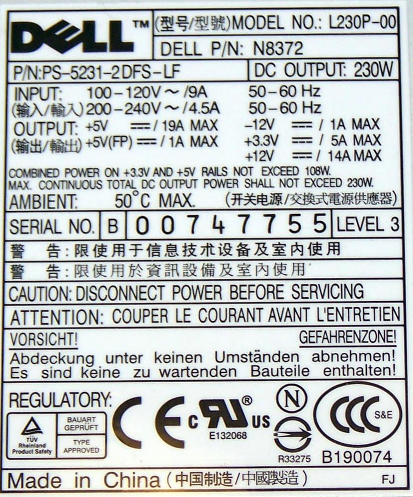 Dell N8372 OptiPlex GX620 Mini Tower Model DCSM 230W Power Supply  Thumbnail 2