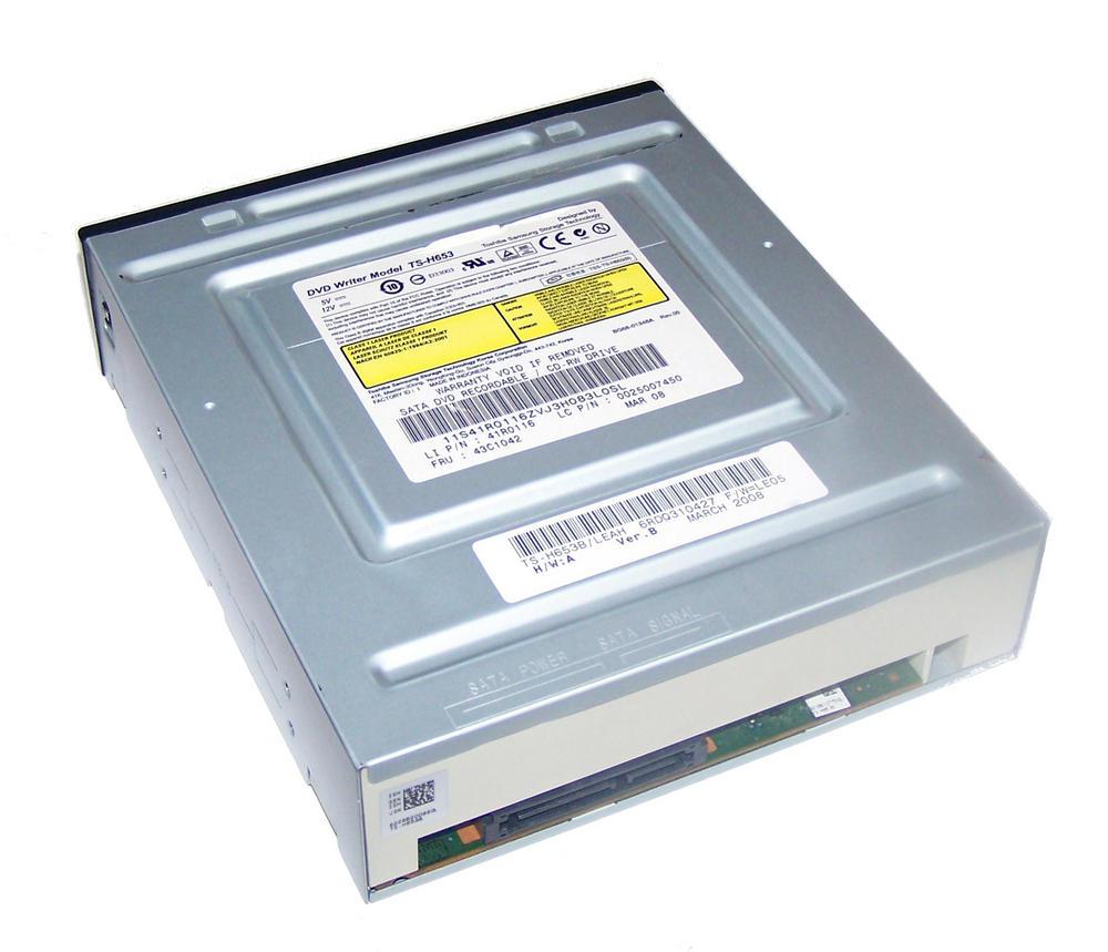 Lenovo 41R0116 SATA H/H DVD-RW Drive with Black Bezel Model TS-H653B FRU 43C1042 Thumbnail 2