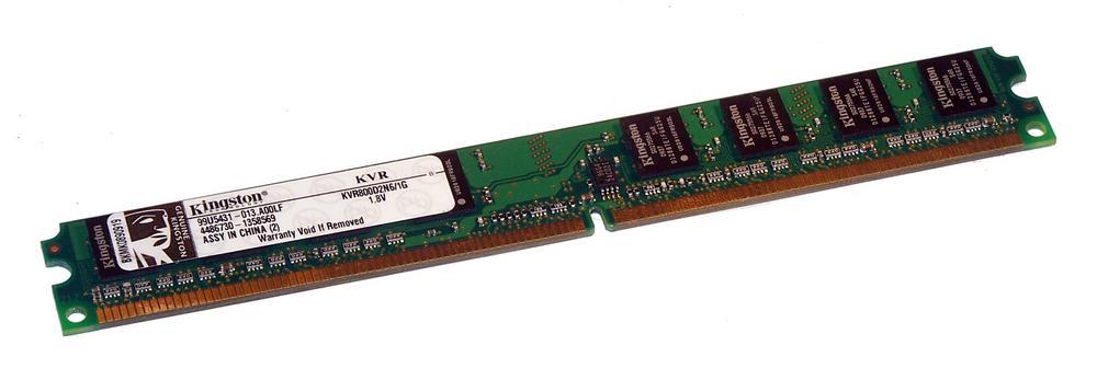 Kingston KVR800D2N6/1G (1GB DDR2 PC2-6400U 800MHz DIMM 240-pin) LP 8C Memory