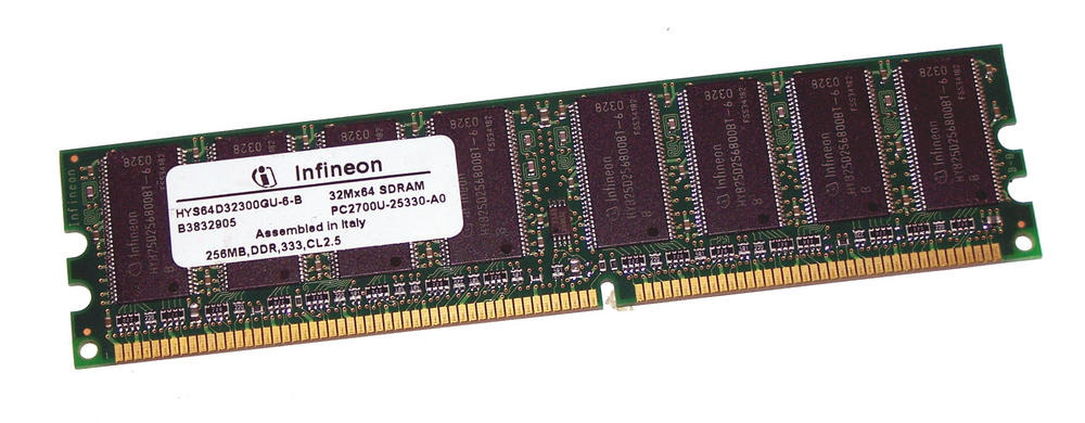 Infineon HYS64D32300GU-6-B (256MB DDR PC2700U 333MHz DIMM 184-pin) Memory