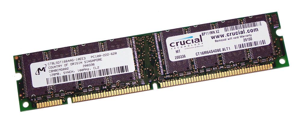 Crucial CT16M64S4D8E.8LT1 (128MB SDRAM PC100U 100MHz DIMM 168-pin) Memory
