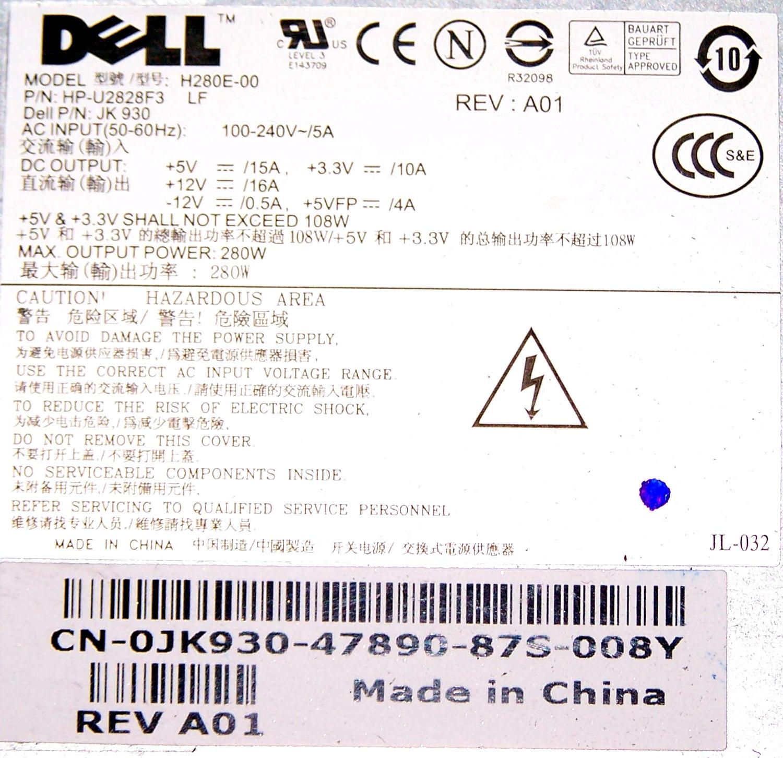 Dell JK930 OptiPlex 755 model DCNE 280W Power Supply (Small Desktop)   0JK930 Thumbnail 2