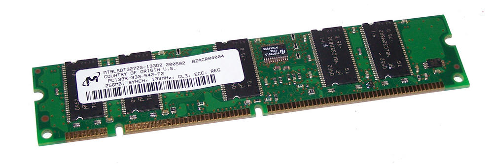 Micron MT9LSDT3272G-133D2 (256MB PC133R 133MHz ECC Reg DIMM 168-pin) Memory