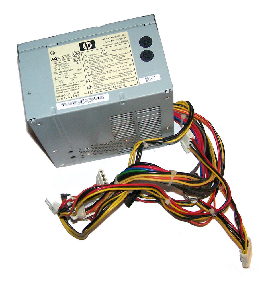 HP 366307-001 dc5100 MT 300W Power Supply | Spares 366505-001  PS-5301-08HP Thumbnail 1
