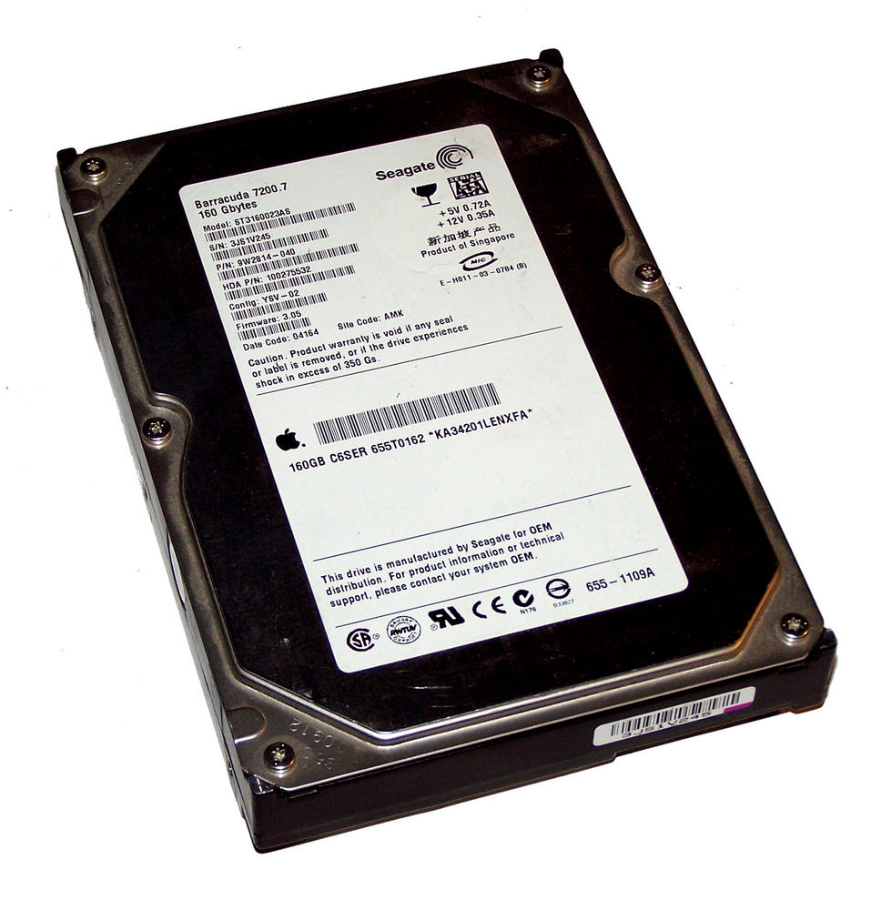 "Apple 655-1109A ST3160023AS 160GB 7.2K 3.5"" SATA HDD 