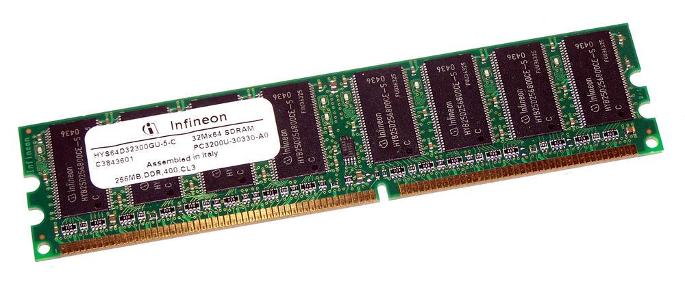 Infineon HYS64D32300GU-5-C (256MB DDR PC3200U 400MHz DIMM 184-pin) Memory